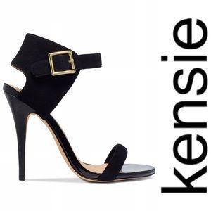 NEW Kensie Ravette Black Suede Dress Sandal Heel